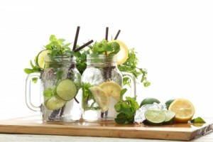 Water with lemon and herbs